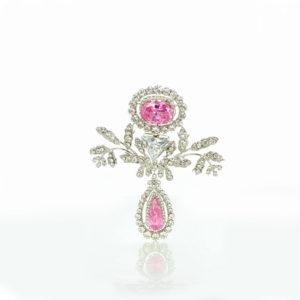 The Swedish pink topaz demi-parure brooch