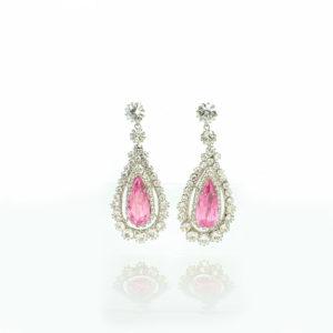 Swedish pink-topaz demi-parure earrings